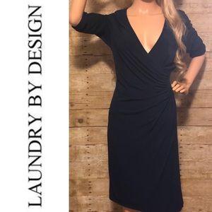 LAUNDRY by design navy gathered dress